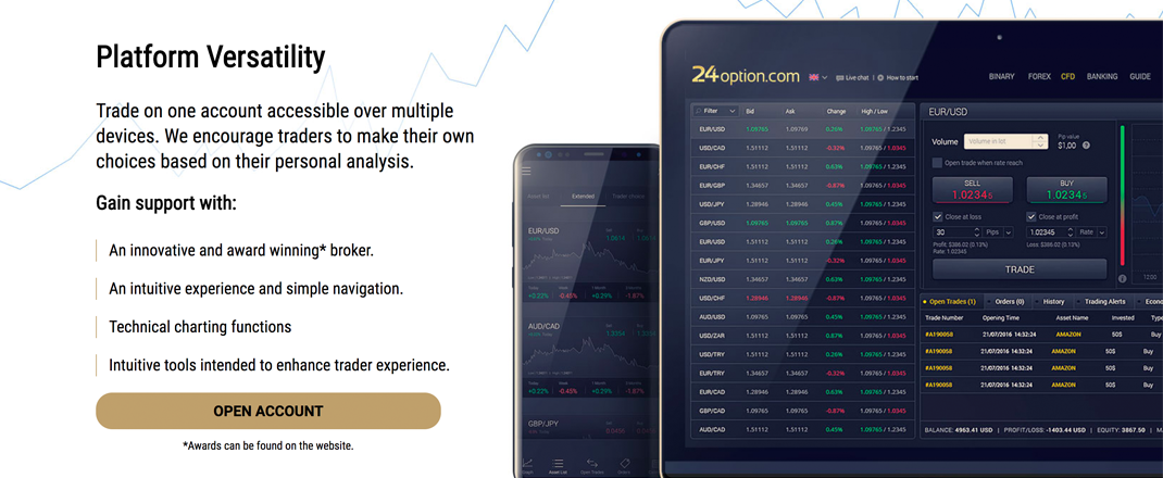 Start trading CFD's with 24option.com